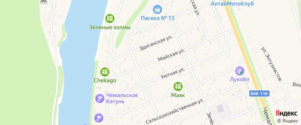 Майская улица на карте села Чемал Алтая с номерами домов