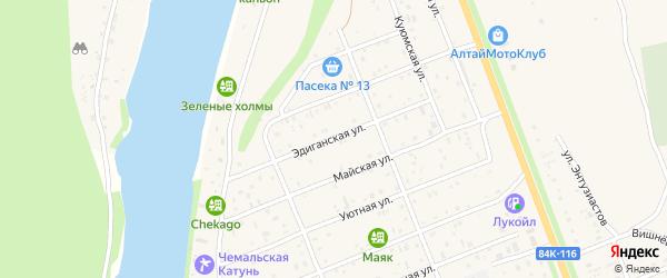 Эдиганская улица на карте села Чемал Алтая с номерами домов