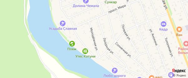 Молодежная улица на карте села Чемал Алтая с номерами домов