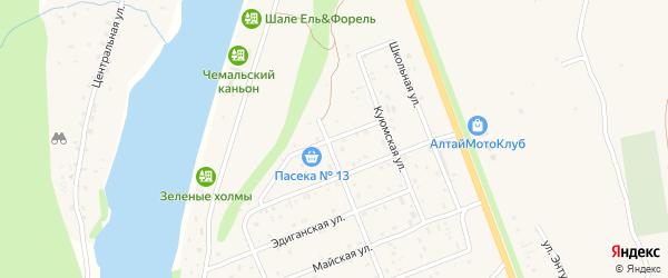 Аэродромная улица на карте села Чемал Алтая с номерами домов