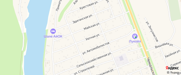 Уютная улица на карте села Чемал Алтая с номерами домов