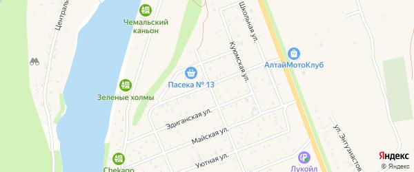 Крестовая улица на карте села Чемал Алтая с номерами домов