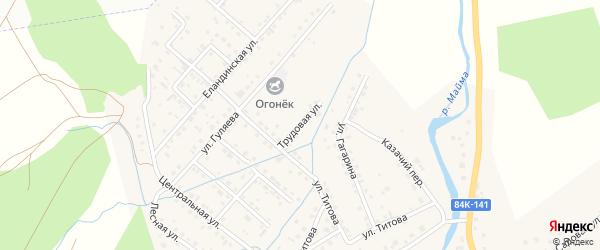 Трудовая улица на карте села Кызыла-Озька Алтая с номерами домов