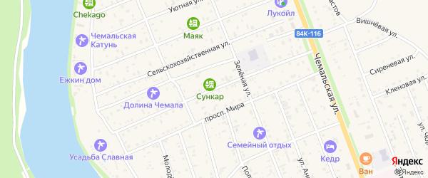 Радужная улица на карте села Чемал Алтая с номерами домов