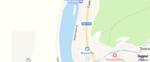 Береговая улица на карте села Элекмонар Алтая с номерами домов
