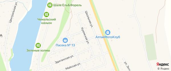 Куюмская улица на карте села Чемал Алтая с номерами домов