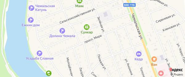 Улица Мира на карте села Чемал Алтая с номерами домов