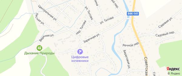 Заречная улица на карте села Кызыла-Озька Алтая с номерами домов