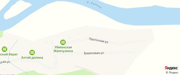 Проточная улица на карте поселка Замульты Алтая с номерами домов