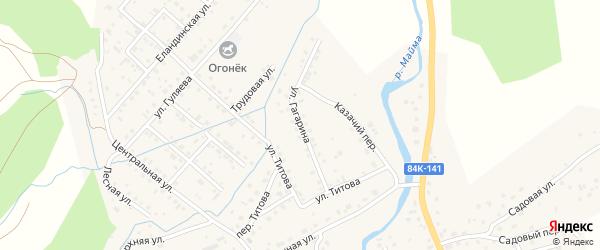 Улица Гагарина на карте села Кызыла-Озька Алтая с номерами домов