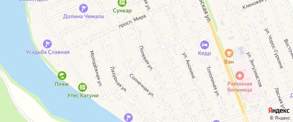 Полевая улица на карте села Чемал Алтая с номерами домов