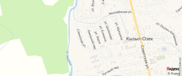 Хмельной переулок на карте села Кызыла-Озька Алтая с номерами домов
