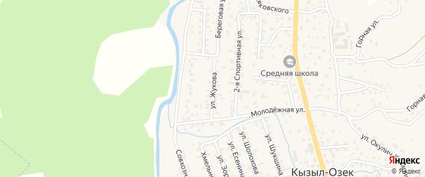 Улица Жукова на карте села Кызыла-Озька Алтая с номерами домов
