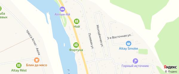 Полевая улица на карте села Элекмонар Алтая с номерами домов