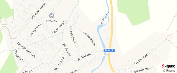 Казачий переулок на карте села Кызыла-Озька Алтая с номерами домов
