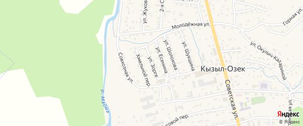 Улица Зорге на карте села Кызыла-Озька Алтая с номерами домов