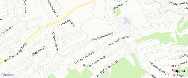 Колхозный переулок на карте Горно-Алтайска с номерами домов