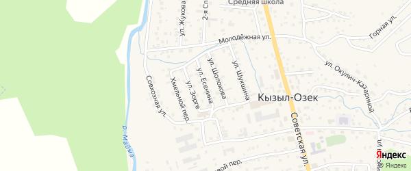 Улица Есенина на карте села Кызыла-Озька Алтая с номерами домов