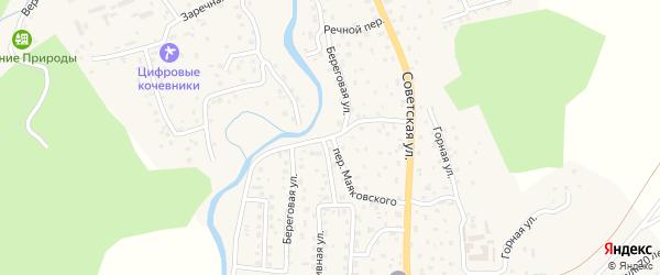 Береговая улица на карте села Кызыла-Озька Алтая с номерами домов