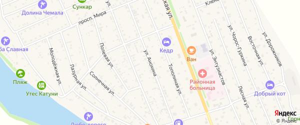 Улица Анохина на карте села Чемал Алтая с номерами домов