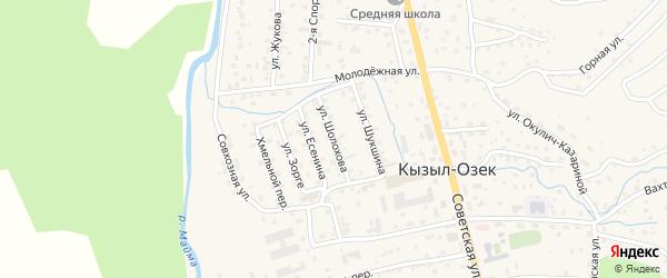 Улица Шолохова на карте села Кызыла-Озька Алтая с номерами домов