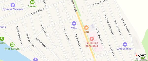Тополиная улица на карте села Чемал Алтая с номерами домов