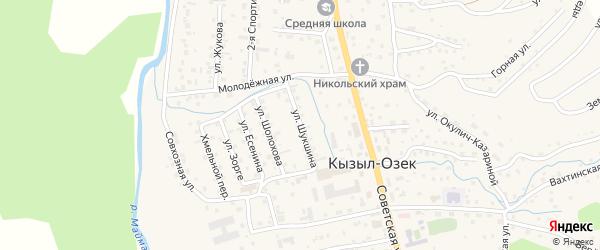 Улица Шукшина на карте села Кызыла-Озька Алтая с номерами домов
