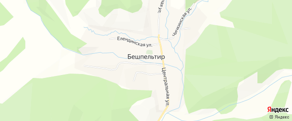 Карта села Бешпельтир в Алтае с улицами и номерами домов