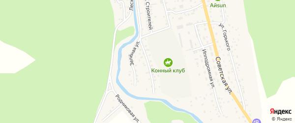 Зеленая улица на карте села Кызыла-Озька Алтая с номерами домов
