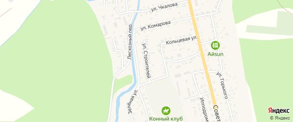 Улица Строителей на карте села Кызыла-Озька Алтая с номерами домов