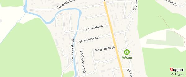 Улица Комарова на карте села Кызыла-Озька Алтая с номерами домов