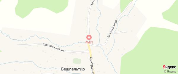 Центральная улица на карте села Бешпельтир Алтая с номерами домов