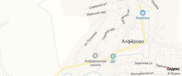 Улица Пушкина на карте поселка Алферово Алтая с номерами домов