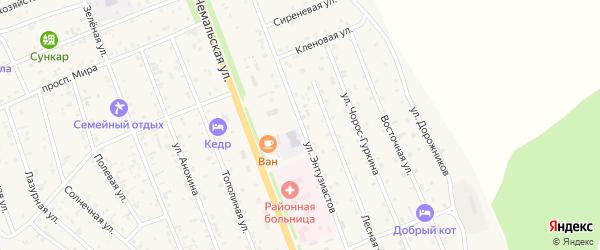 Улица Энтузиастов на карте села Чемал Алтая с номерами домов