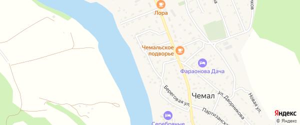 Береговая улица на карте села Чемал Алтая с номерами домов