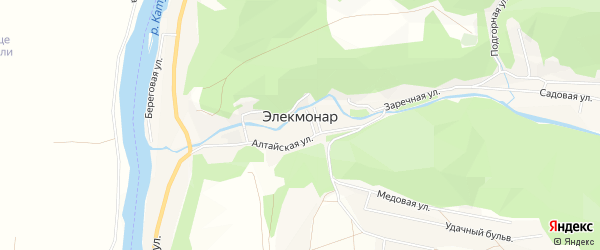 Карта села Элекмонар в Алтае с улицами и номерами домов