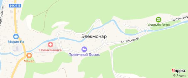 Радужная улица на карте села Элекмонар Алтая с номерами домов