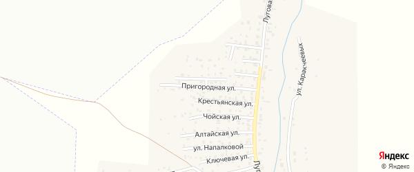 Пригородная улица на карте поселка Алферово Алтая с номерами домов