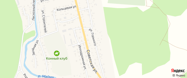 Улица М.Горького на карте села Кызыла-Озька Алтая с номерами домов