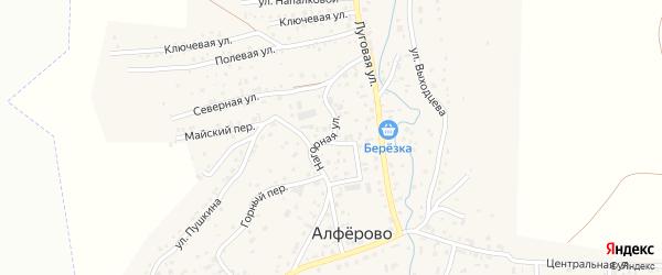 Нагорная улица на карте поселка Алферово Алтая с номерами домов