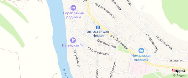 Торговый переулок на карте села Чемал Алтая с номерами домов