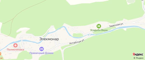 Заречная улица на карте села Элекмонар Алтая с номерами домов