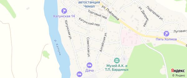 Советский переулок на карте села Чемал Алтая с номерами домов