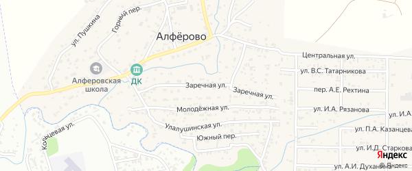 Заречная улица на карте поселка Алферово Алтая с номерами домов