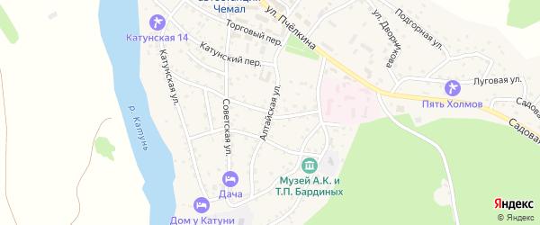 Алтайская улица на карте села Чемал Алтая с номерами домов