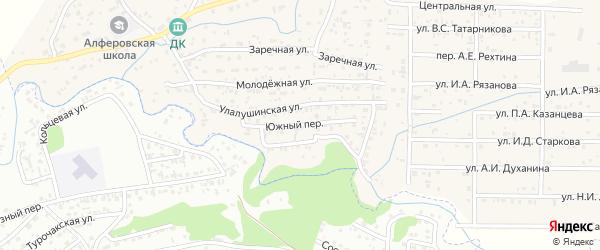 Южный переулок на карте поселка Алферово Алтая с номерами домов