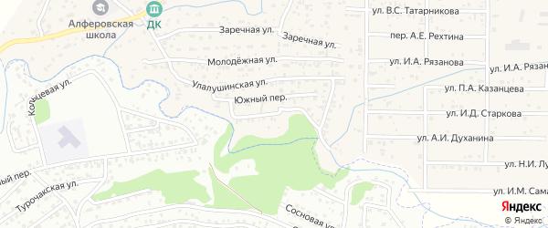 Береговой переулок на карте поселка Алферово Алтая с номерами домов