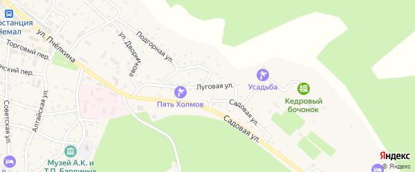 Луговая улица на карте села Чемал Алтая с номерами домов