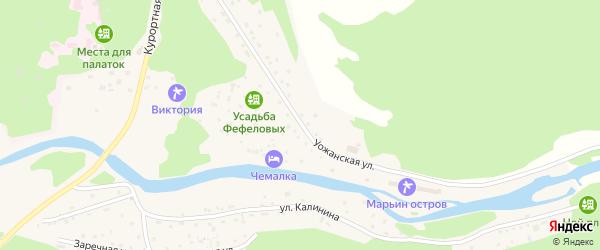 Уожанская улица на карте села Чемал Алтая с номерами домов