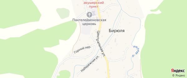 Подгорный переулок на карте села Бирюли с номерами домов